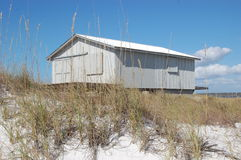 Shack and dunes. An island shack sits among the sand dunes Royalty Free Stock Photo