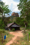 Shack in front of high rock under green forest Royalty Free Stock Photo