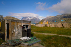 Shack in greenland. Decorated with horns Stock Photos