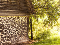 The shack. This log cabin built a long time ago is made of logs Royalty Free Stock Photo