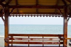 Shack by the sea. Pavilion sit and relax seaside Stock Photos