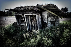 Shack with Sod Roof. An old shack with a sod roof next to a corn field with a scare crow Stock Photo