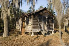 Shack in the woods. A run down wood shack deep in the back woods of Marion County, South Carolina Stock Photography