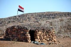 Shack with Yemeni flag Royalty Free Stock Image