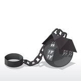 Shackle house. House vector draw like a shackle ball royalty free illustration