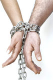 Shackled hands Royalty Free Stock Photos