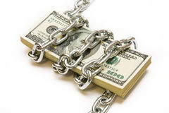 Shackled stack of dollars Stock Image