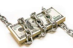 Shackled stack of dollars Royalty Free Stock Photography