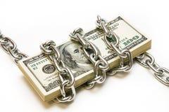 Shackled Stapel Dollar Lizenzfreie Stockfotografie