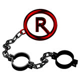 Shackles chain with a copyright symbol  on white background. Royalty Free Stock Photos