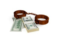 Shackles and dollar pack. Royalty Free Stock Photos