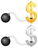 Shackles with dollar symbol Royalty Free Stock Photo