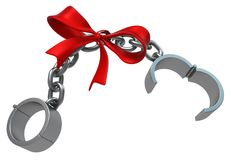 Shackles Gift. Open chain grey metal 3d illustration, isolated, horizontal, over white Stock Images