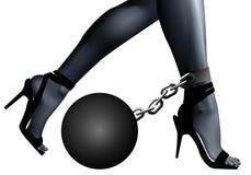 Shackles on leg the girl Stock Photography
