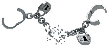 Shackles Locked Break. Shackles breaking chain with locks, dark metal 3d illustration, isolated, horizontal, over white Royalty Free Stock Photography