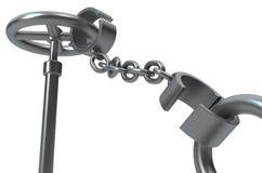 Shackles Metal Valve Secured Close. Shackles chain valve handle secured close grey metal 3d illustration, horizontal, over white vector illustration