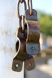Shackles On a Post. Military shackles on a post Royalty Free Stock Photography