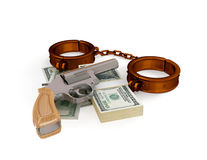 Shackles, revolver and dollar pack. Stock Photo