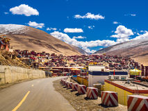 Shacks for buddhist monks and nuns at tibetan Yarchen Gar Monast Stock Photography
