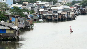 Shacks on the Saigon River - Ho Chi Minh City (Saigon)  Vietnam stock footage