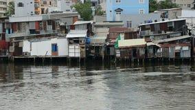 Shacks on the Saigon River - Ho Chi Minh City (Saigon)  Vietnam stock video