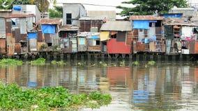 Shacks on the Saigon River - Ho Chi Minh City (Saigon)  Vietnam stock video footage