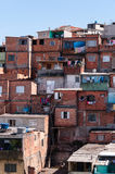 Shacks in the slum in Sao Paulo. Shacks in the slum in a poor neighborhood of Sao Paulo stock photography