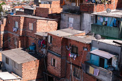 Shacks in the slum in Sao Paulo. Shacks in the slum in a poor neighborhood of Sao Paulo stock photos