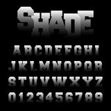 Shade alphabet font template. Alphabet font template. Set of letters and numbers shade design. Vector illustration Stock Illustration