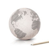 Shade America map on paper globe Royalty Free Stock Photos