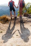 Shade of couple on hill Royalty Free Stock Image