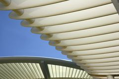 Shade donator. A roof construction on the pool deck of a cruise ship stock image
