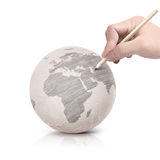 Shade drawing Asia map on paper ball. On white background stock image