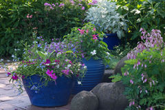 Shade Garden Pots. Bright blue pots overflow with colorful flowers in a shaded brick patio Stock Photo