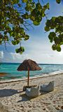 Shade hut on the beach. White sand beach with shade hut on the ocean in Cancun Mexico Royalty Free Stock Images