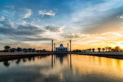 The shade of mosque. Before sunset you will see some fantastic light . That is differrent in another days Royalty Free Stock Images