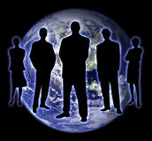 Shade people earth 2. Shade of the people with earth on background Royalty Free Stock Images