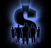 Shade People Money. Silhouette of the people and sign of money Royalty Free Stock Photo