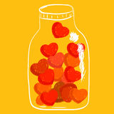 Shade of red hearts in jar Stock Photography