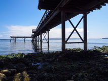 The Shade and Shadows Underneath the Pier in Sidney. Summer day getting some shade on the rocky shoreline underneath the jetty Royalty Free Stock Photography