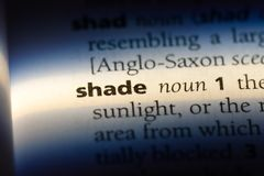 Shade. Word in a dictionary.  concept stock photos
