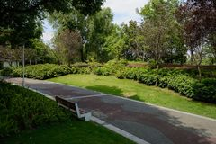 Shaded bench by painted path in plants and trees of sunny summer. Afternoon,Chengdu,China royalty free stock photos