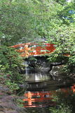 Shaded Red Bridge in Japanese Garden with Reflection Stock Photo