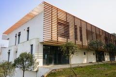 Shaded building against sunny sky Royalty Free Stock Photos