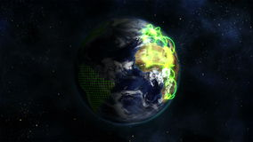 Shaded and cloudy Earth with green connections turning on itself with a grid with Earth image courte stock footage