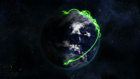 Shaded and cloudy Earth turning with green connections on itself with Earth image curtesy of Nasa.or stock video