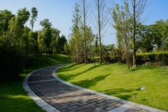 Shaded curving pavement in lawn on sunny summer day. Shaded curving pavement in grassy lawn on sunny summer day,Chengdu,China royalty free stock image