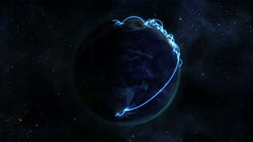Shaded Earth with blue connections turning on itself with Earth image courtesy of Nasa.org stock video