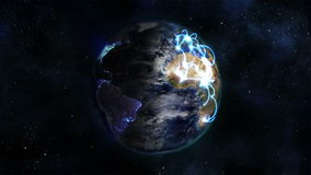Shaded Earth with blue connections turning on itself with moving clouds with Earth image courtesy of stock video footage