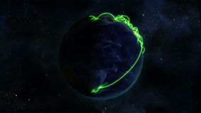 Shaded Earth with green connections turning on itself with Earth image courtesy of Nasa.org stock video footage